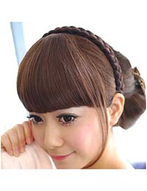 Pleated Dark Brown Hairs Banged With Temples High-Temp Fiber Wigs