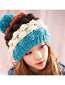 Special Blue Four-Color Pompon Design Knitting Wool Fashion Hats