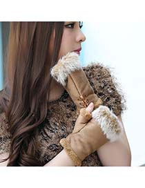Heather Khaki Thicken Warth Fingerless Knitting Wool Fingerless Gloves