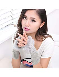 Floral Gray Fingerless Warmth Style Knitting Wool Fashion Gloves