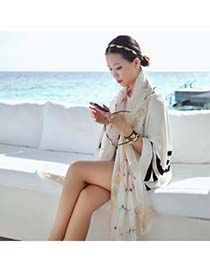 Couture White Dragonfly Skull Pattern Chiffon Fashion Scarves