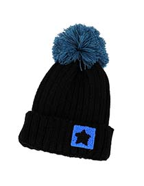 Athletic Black Five-Pointed Star Pattern Knitting Wool Fashion Hats