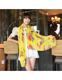Couture Yellow Colorful Feather Pattern Chiffon Fashion Scarves