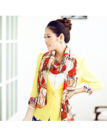 Mustard Red Horse And Cart Pattern Chiffon Fashion Scarves