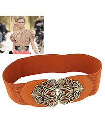 Summer Brown Carve Flower Wide Design Alloy Wide belts