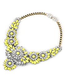 Recycled yellow luxury flower design alloy Bib Necklaces