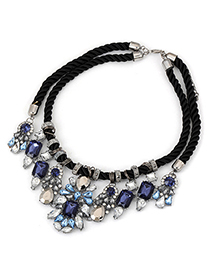 Bohemia Black Beads Decorated Tassel Design Alloy Bib Necklaces