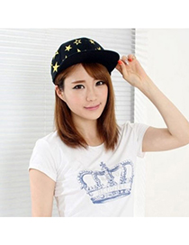 Natural Black Embroidery Stars Design Canvas Fashion Hats