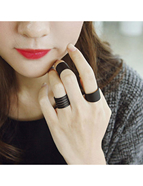 Limited Black Spiral Design Alloy Korean Rings