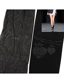 Folding Black Heart Tattoo Pattern Yarn Fashion Stockings