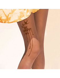 Golf Fleshcolor Peach Blossom Pattern Yarn Fashion Stockings