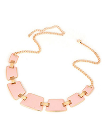 Sequined Pink Geometry Matching Alloy Korean Necklaces