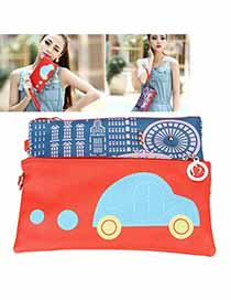 Wholesale Red Cartoon Car Pattern PU Handbags