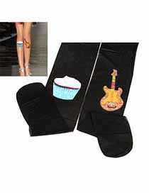 Streamline Black Cake Guitar Design Velvet Fashion Stockings