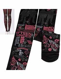 Bodybuildi Black Tattoo Pattern Design Velvet Fashion Stockings