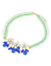 Specialty Blue Gemstone Decorated Design Alloy Bib Necklaces