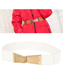 Special White Hollow Out Flower Design Alloy Wide belts