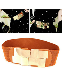 Photograph Brown Simple Decorated Design Alloy Wide belts