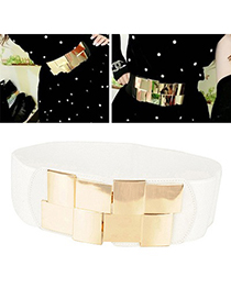 Magnetic White Simple Decorated Design Alloy Wide belts