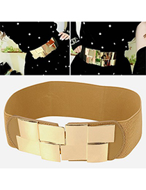 Plussize Khaki Simple Decorated Design Alloy Wide belts