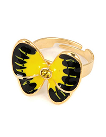 Faux Yellow Butterfly Shape Design Alloy Fashion Rings