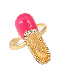 New Plum Red Shoes Shape Design Alloy Fashion Rings