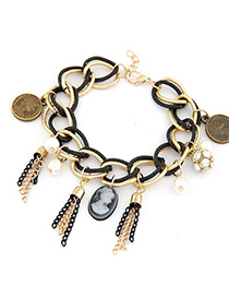 Novelty Black Tassel Decorated Metal Chain Design Alloy Korean Fashion Bracelet