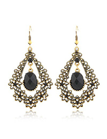 Inexpensiv Black Diamond Flower Water Drop Temperament Design Alloy Korean Earrings