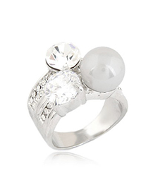 Girls Silver Color Sparkly Gemstone And Pearl Decorated Design Alloy Korean Rings