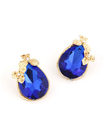 Golf Dark Blue Water Drop Shape Design Alloy Stud Earrings