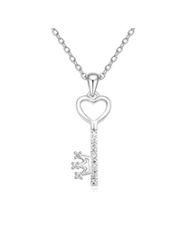 Casual White Key Pendant Simple Design Austrian Crystal Crystal Necklaces
