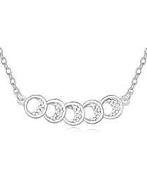 Chunky White Five Hollow Out Circle Decorated Design Austrian Crystal Crystal Necklaces
