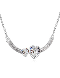Street White Two Heart Shape Design Austrian Crystal Crystal Necklaces
