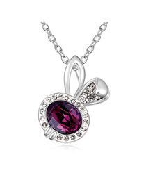 Womens Purple Lovely Rabbit Pendant Design Austrian Crystal Crystal Necklaces