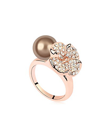 Musical Antique Copper&Champagne Gold Flower Decorated Design Pearl Crystal Rings