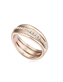 Current Color White&Rose Gold Diamond Decorated Hollow Out Design Austrian Crystal Crystal Rings