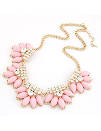 Monarchy Pink Metal Inlaid Diamond Flower Design Alloy Korean Necklaces