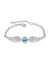 Wedding Ocean Blue Angel Wing Shape Design Austrian Crystal Crystal Bracelets