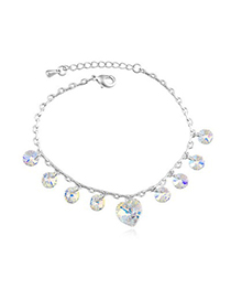 Punk Color White Elegant Heart Shape Decorated Austrian Crystal Crystal Bracelets