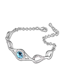Eco Ocean Blue Water Drop Shape  Link Design Austrian Crystal Crystal Bracelets