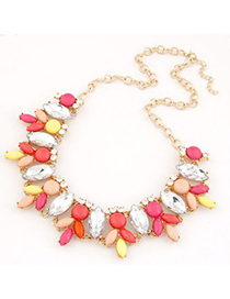 Gored Red Metal Inlaid Abstract Bee Design Alloy Korean Necklaces