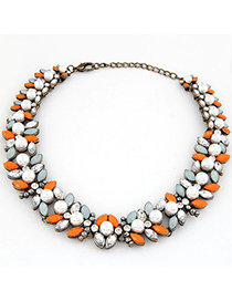 Fine Multicolor Gemstone Pearl Fake Collar Design Alloy Bib Necklaces