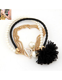 Exquisite Black Multilayer Petals Flower Decorated Alloy Korean Fashion Bracelet