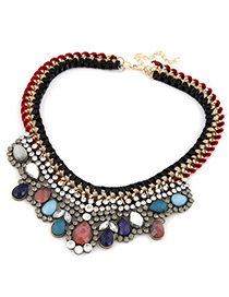 Cheap Blue Metal Weave Rope Fake Collar Design Alloy Bib Necklaces