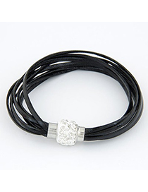 Catholic Black Bright Ball Decorated Multilayers Exquisite Design Alloy Korean Fashion Bracelet