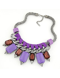 Down Purple bohemia style gemstone rivet pendant Alloy Fashion Necklaces
