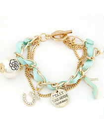 Headrest Green Multielement Decorated Multilayer Chain Design Alloy Korean Fashion Bracelet