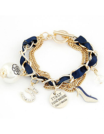 Wool Navy Blue Multielement Decorated Multilayer Chain Design Alloy Korean Fashion Bracelet