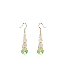 22K Fluorescent green crystal stone decorated simple design crystal Crystal Earrings