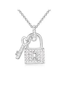 Nameplate white diamond decorated key lock pendant design crystal Crystal Necklaces